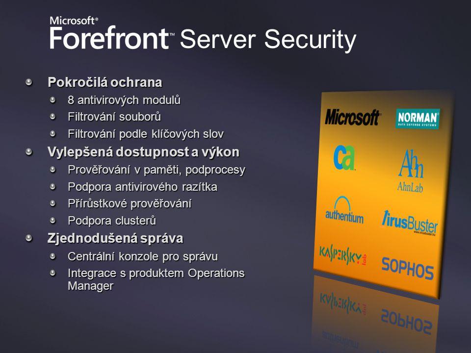 Forefront Security for Exchange Server Pokročilá ochrana 8 antivirových modulů Filtrování souborů Filtrování podle klíčových slov Vylepšená dostupnost a výkon Prověřování v paměti, podprocesy Podpora antivirového razítka Přírůstkové prověřování Podpora clusterů Zjednodušená správa Centrální konzole pro správu Integrace s produktem Operations Manager Server Security