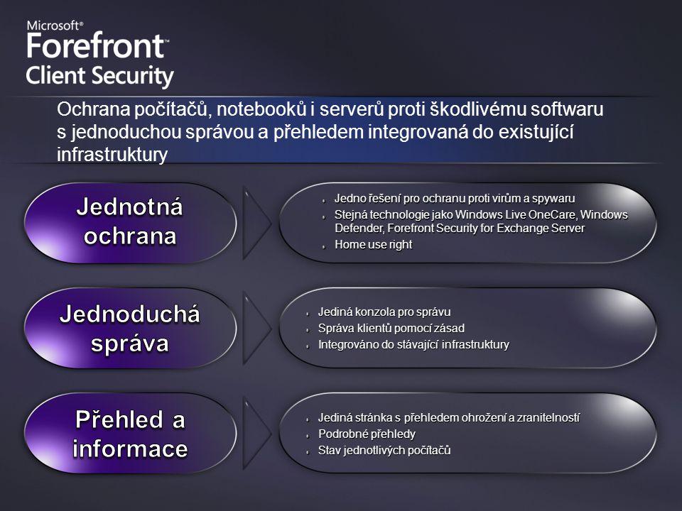 Jedno řešení pro ochranu proti virům a spywaru Stejná technologie jako Windows Live OneCare, Windows Defender, Forefront Security for Exchange Server Home use right Jediná konzola pro správu Správa klientů pomocí zásad Integrováno do stávající infrastruktury Jediná stránka s přehledem ohrožení a zranitelností Podrobné přehledy Stav jednotlivých počítačů Ochrana počítačů, notebooků i serverů proti škodlivému softwaru s jednoduchou správou a přehledem integrovaná do existující infrastruktury