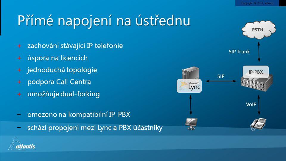 Copyright © 2011, atlantis Přímé napojení na ústřednu SIP PSTN IP-PBX + zachování stávající IP telefonie + úspora na licencích + jednoduchá topologie