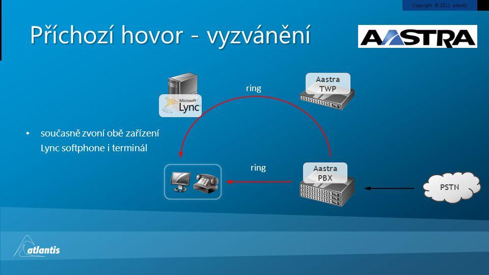 Copyright © 2011, atlantis Příchozí hovor - vyzvánění PSTN Aastra PBX Aastra TWP současně zvoní obě zařízení Lync softphone i terminál ring
