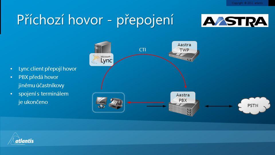 Copyright © 2011, atlantis Příchozí hovor - přepojení PSTN Aastra PBX Aastra TWP Lync client přepojí hovor PBX předá hovor jinému účastníkovy spojení
