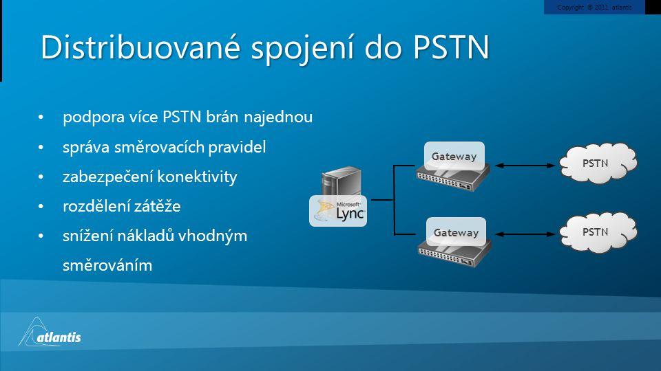 Copyright © 2011, atlantis Distribuované spojení do PSTN Gateway PSTN Gateway PSTN podpora více PSTN brán najednou správa směrovacích pravidel zabezpe