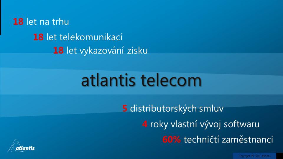 Copyright © 2011, atlantis 18 let na trhu 18 let telekomunikací 18 let vykazování zisku 5 distributorských smluv 4 roky vlastní vývoj softwaru 60% tec