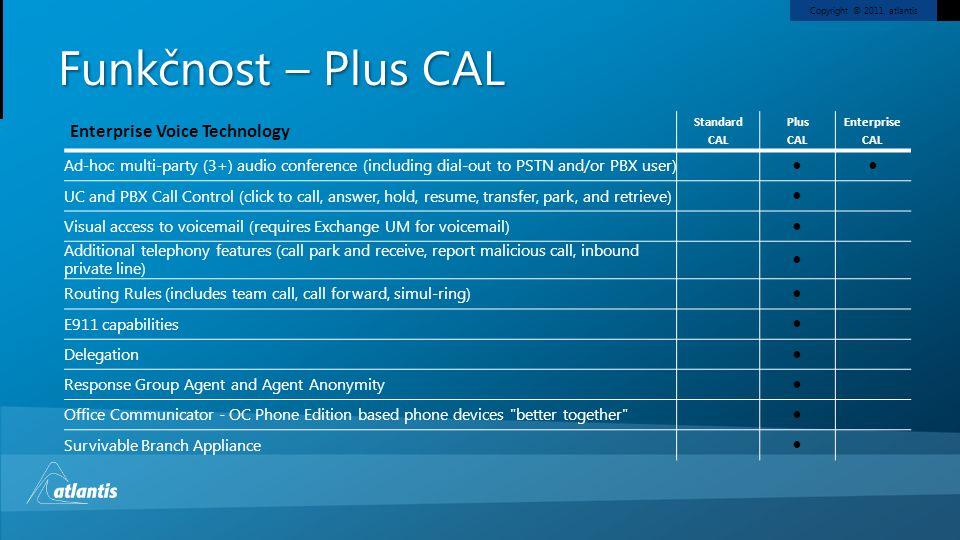 Copyright © 2011, atlantis Funkčnost – Plus CAL Enterprise Voice Technology Standard CAL Plus CAL Enterprise CAL Ad-hoc multi-party (3+) audio confere