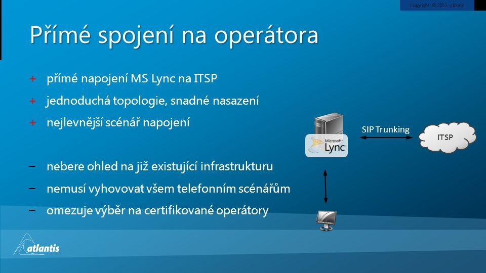 Copyright © 2011, atlantis Přímé spojení na operátora + přímé napojení MS Lync na ITSP + jednoduchá topologie, snadné nasazení + nejlevnější scénář na