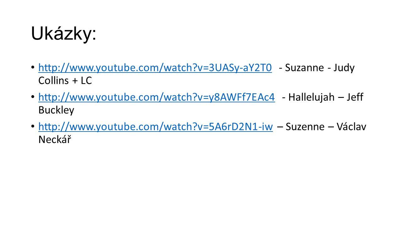 Ukázky: http://www.youtube.com/watch?v=3UASy-aY2T0 - Suzanne - Judy Collins + LC http://www.youtube.com/watch?v=3UASy-aY2T0 http://www.youtube.com/wat