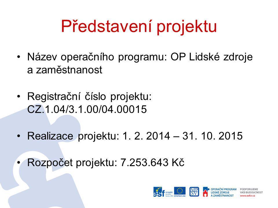 Představení projektu Název operačního programu: OP Lidské zdroje a zaměstnanost Registrační číslo projektu: CZ.1.04/3.1.00/04.00015 Realizace projektu: 1.