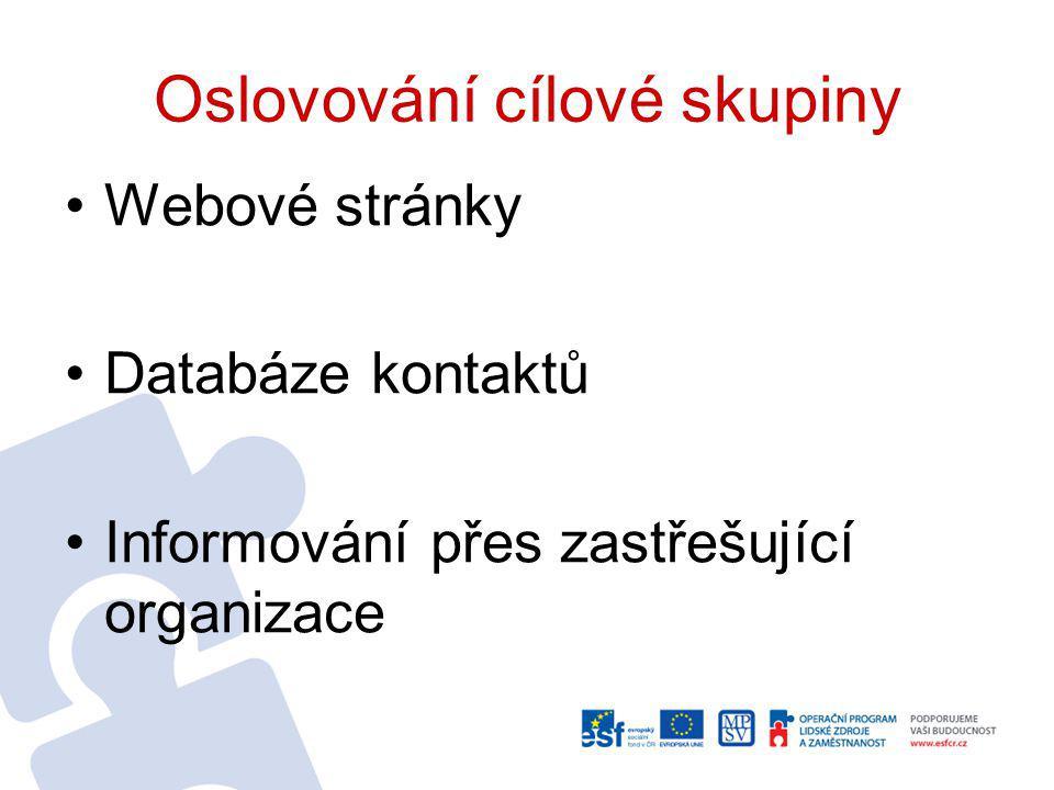 Oslovování cílové skupiny Webové stránky Databáze kontaktů Informování přes zastřešující organizace