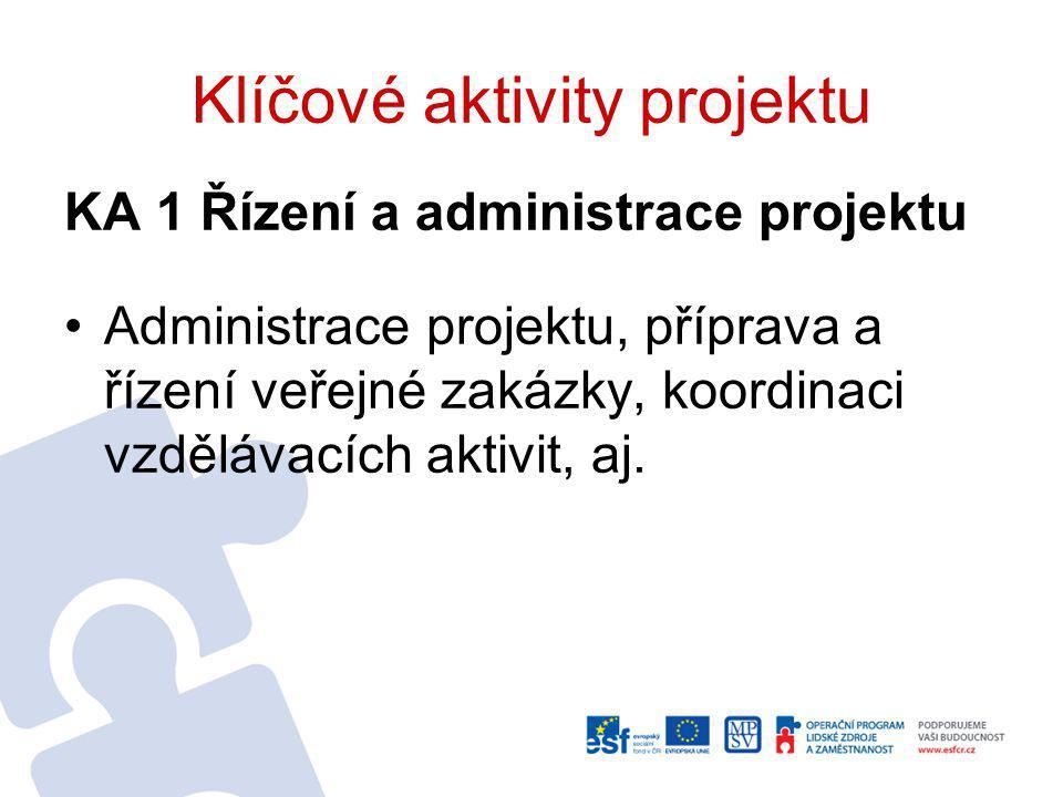 Klíčové aktivity projektu KA 1 Řízení a administrace projektu Administrace projektu, příprava a řízení veřejné zakázky, koordinaci vzdělávacích aktivit, aj.