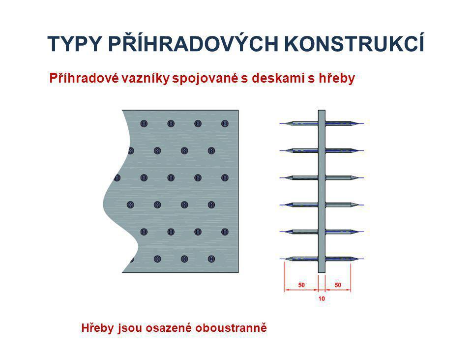TYPY PŘÍHRADOVÝCH KONSTRUKCÍ Příhradové vazníky spojované s deskami s hřeby Hřeby jsou osazené oboustranně