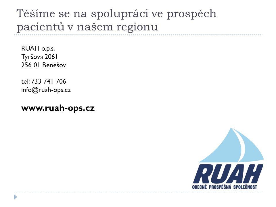 Těšíme se na spolupráci ve prospěch pacientů v našem regionu RUAH o.p.s. Tyršova 2061 256 01 Benešov tel: 733 741 706 info@ruah-ops.cz www.ruah-ops.cz