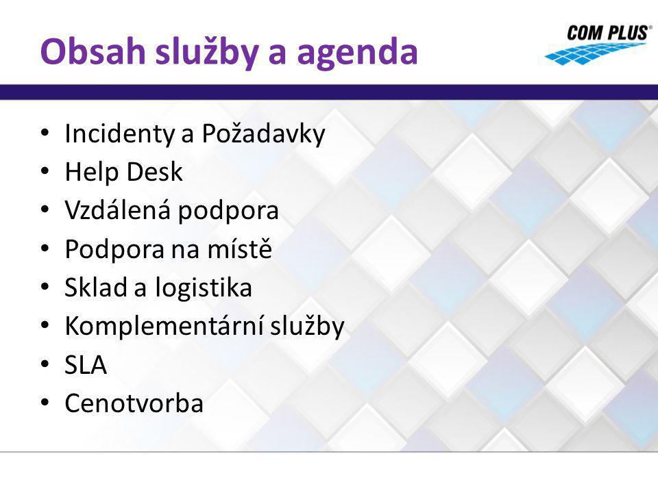 Obsah služby a agenda Incidenty a Požadavky Help Desk Vzdálená podpora Podpora na místě Sklad a logistika Komplementární služby SLA Cenotvorba
