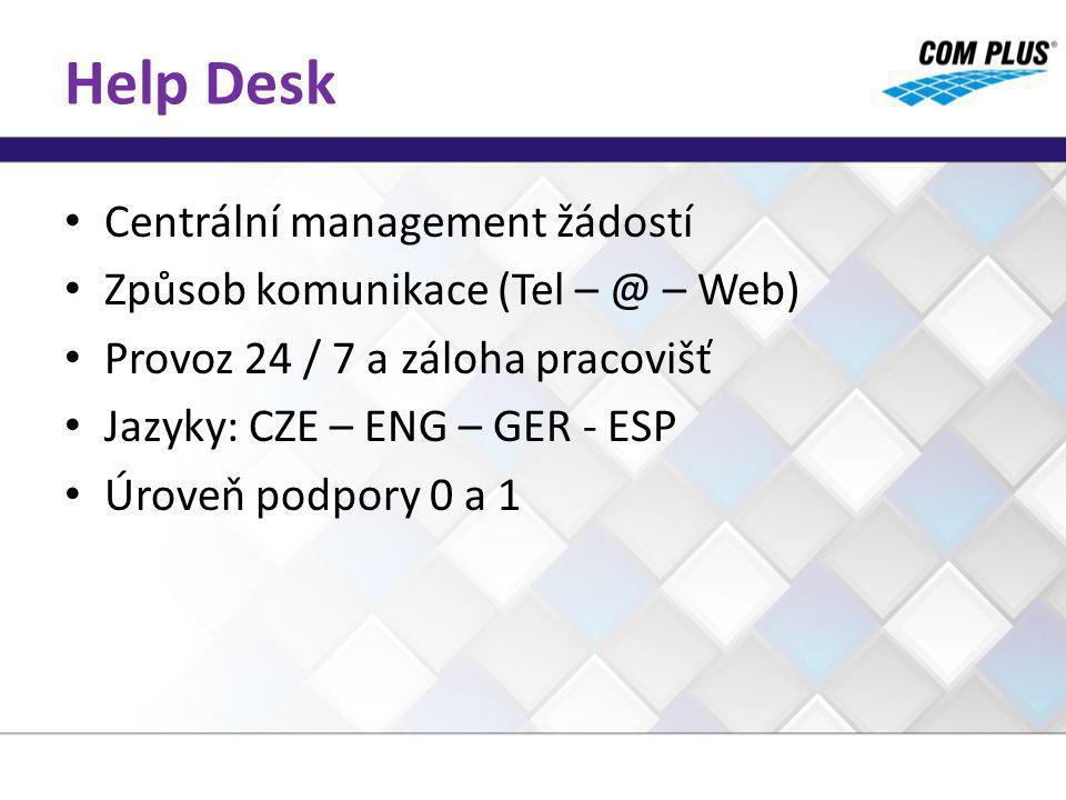 Help Desk Centrální management žádostí Způsob komunikace (Tel – @ – Web) Provoz 24 / 7 a záloha pracovišť Jazyky: CZE – ENG – GER - ESP Úroveň podpory 0 a 1