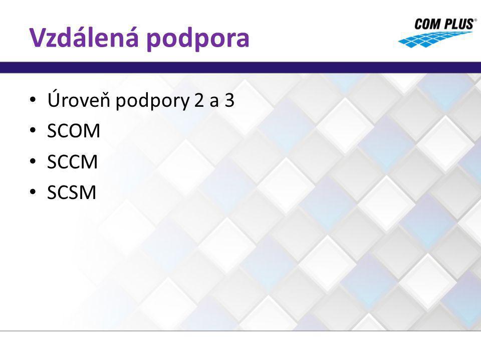 Vzdálená podpora Úroveň podpory 2 a 3 SCOM SCCM SCSM