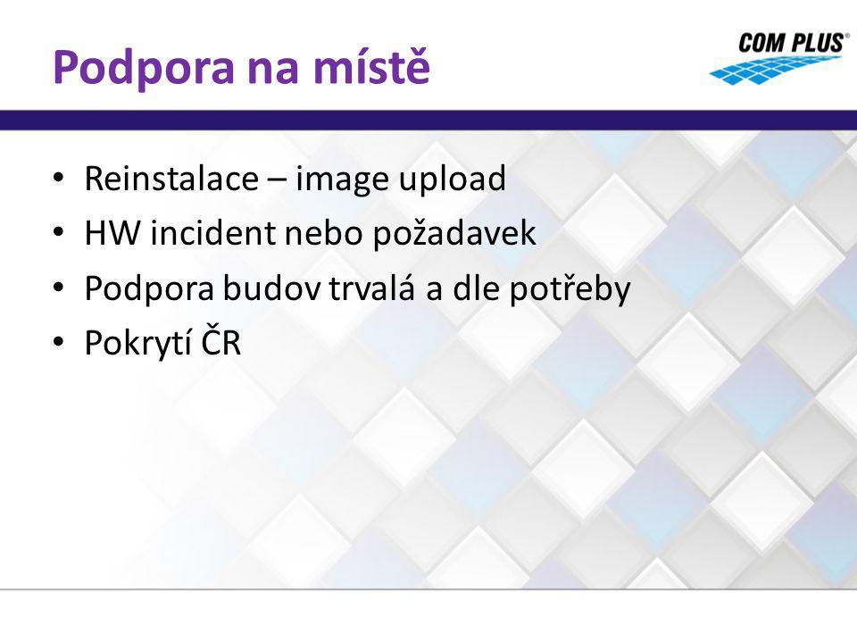 Podpora na místě Reinstalace – image upload HW incident nebo požadavek Podpora budov trvalá a dle potřeby Pokrytí ČR
