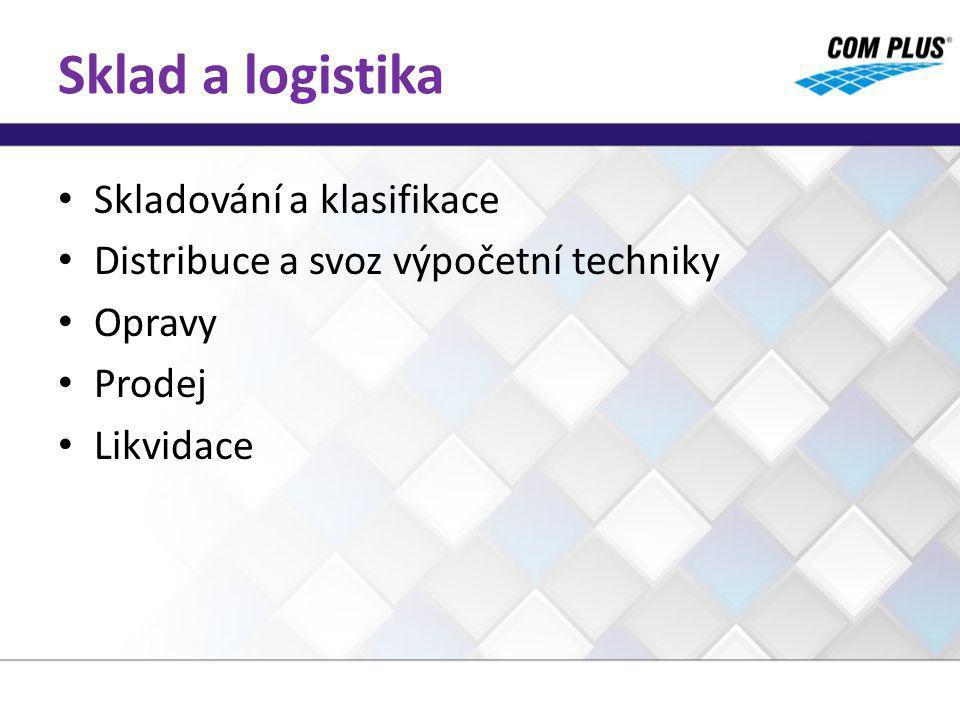 Sklad a logistika Skladování a klasifikace Distribuce a svoz výpočetní techniky Opravy Prodej Likvidace