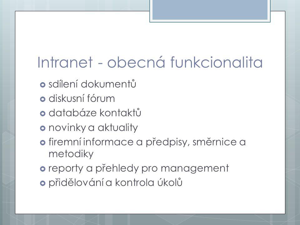 Intranet - obecná funkcionalita  sdílení dokumentů  diskusní fórum  databáze kontaktů  novinky a aktuality  firemní informace a předpisy, směrnic