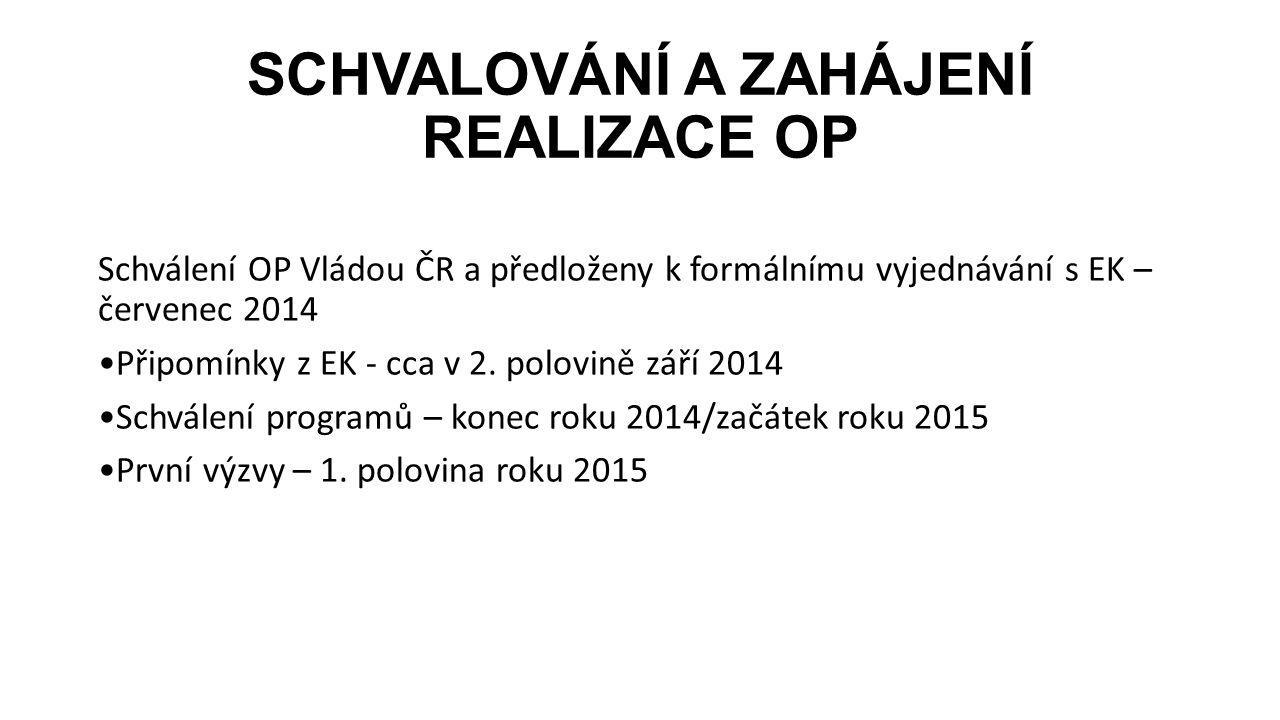 SCHVALOVÁNÍ A ZAHÁJENÍ REALIZACE OP Schválení OP Vládou ČR a předloženy k formálnímu vyjednávání s EK – červenec 2014 Připomínky z EK - cca v 2. polov