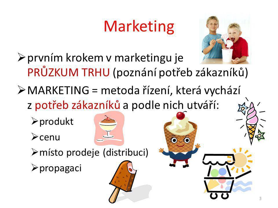 Marketing  prvním krokem v marketingu je PRŮZKUM TRHU (poznání potřeb zákazníků)  MARKETING = metoda řízení, která vychází z potřeb zákazníků a podle nich utváří:  produkt  cenu  místo prodeje (distribuci)  propagaci 3