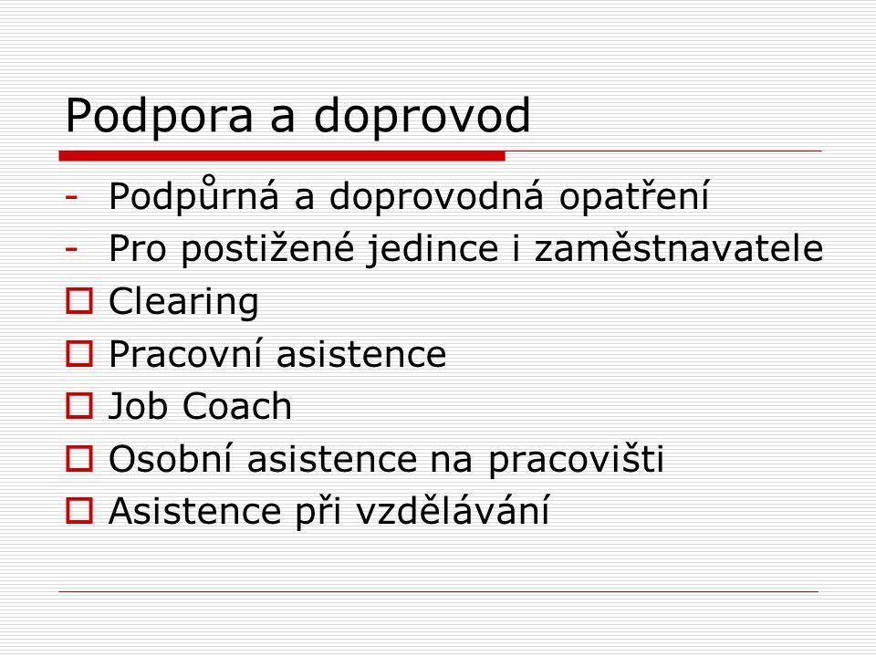 Podpora a doprovod -Podpůrná a doprovodná opatření -Pro postižené jedince i zaměstnavatele  Clearing  Pracovní asistence  Job Coach  Osobní asistence na pracovišti  Asistence při vzdělávání