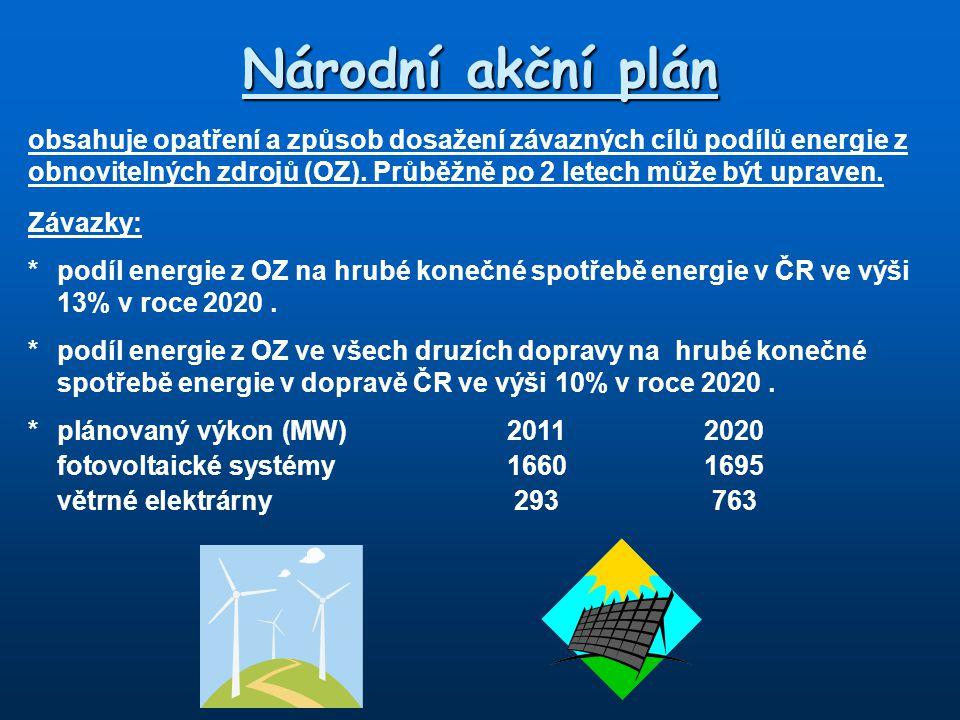 Národní akční plán obsahuje opatření a způsob dosažení závazných cílů podílů energie z obnovitelných zdrojů (OZ). Průběžně po 2 letech může být uprave