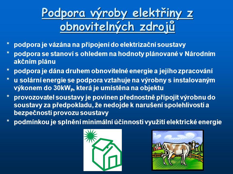 Podpora výroby elektřiny z obnovitelných zdrojů *podpora je vázána na připojení do elektrizační soustavy *podpora se stanoví s ohledem na hodnoty plán