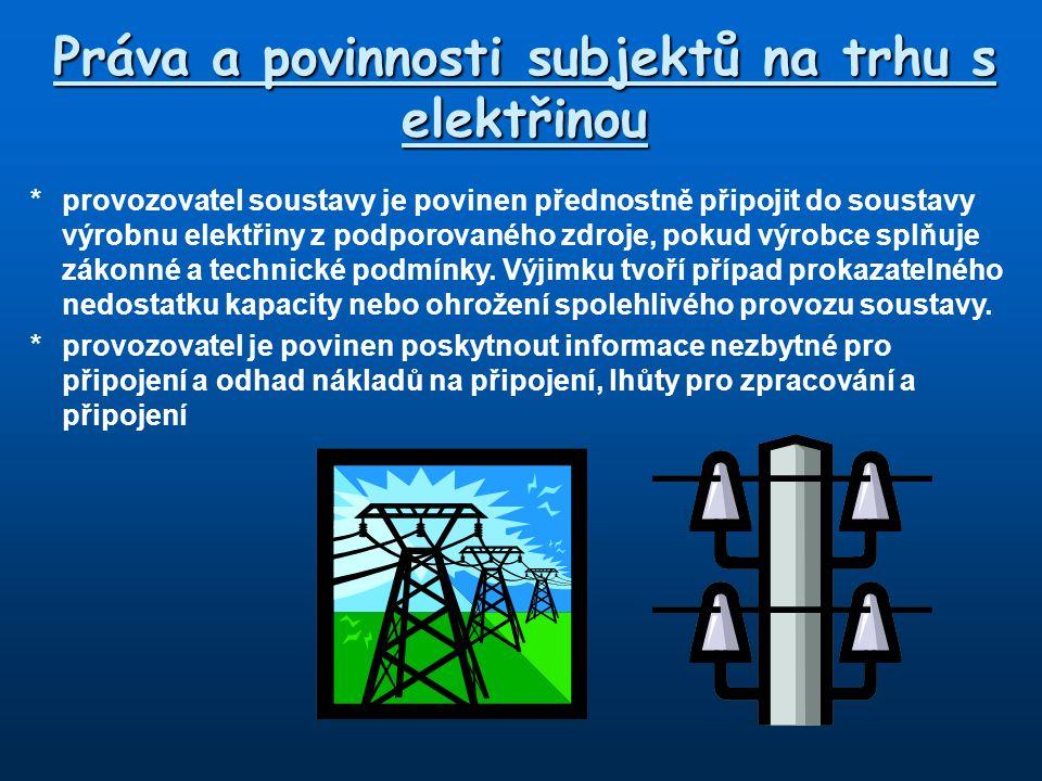 Práva a povinnosti subjektů na trhu s elektřinou *provozovatel soustavy je povinen přednostně připojit do soustavy výrobnu elektřiny z podporovaného z