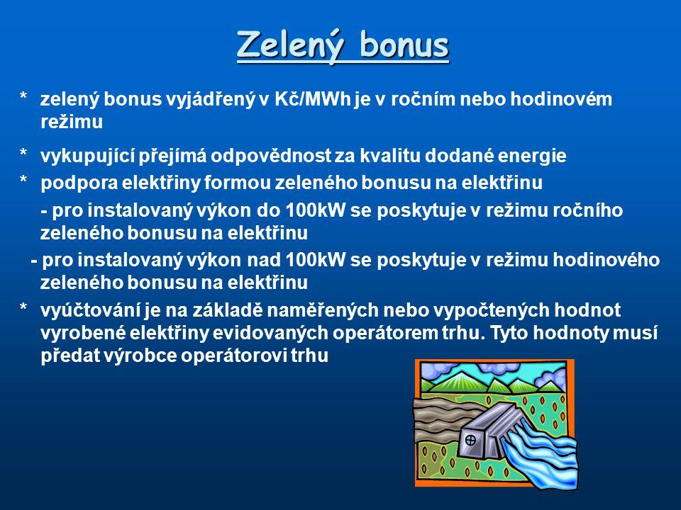 Zelený bonus *zelený bonus vyjádřený v Kč/MWh je v ročním nebo hodinovém režimu *vykupující přejímá odpovědnost za kvalitu dodané energie *podpora ele