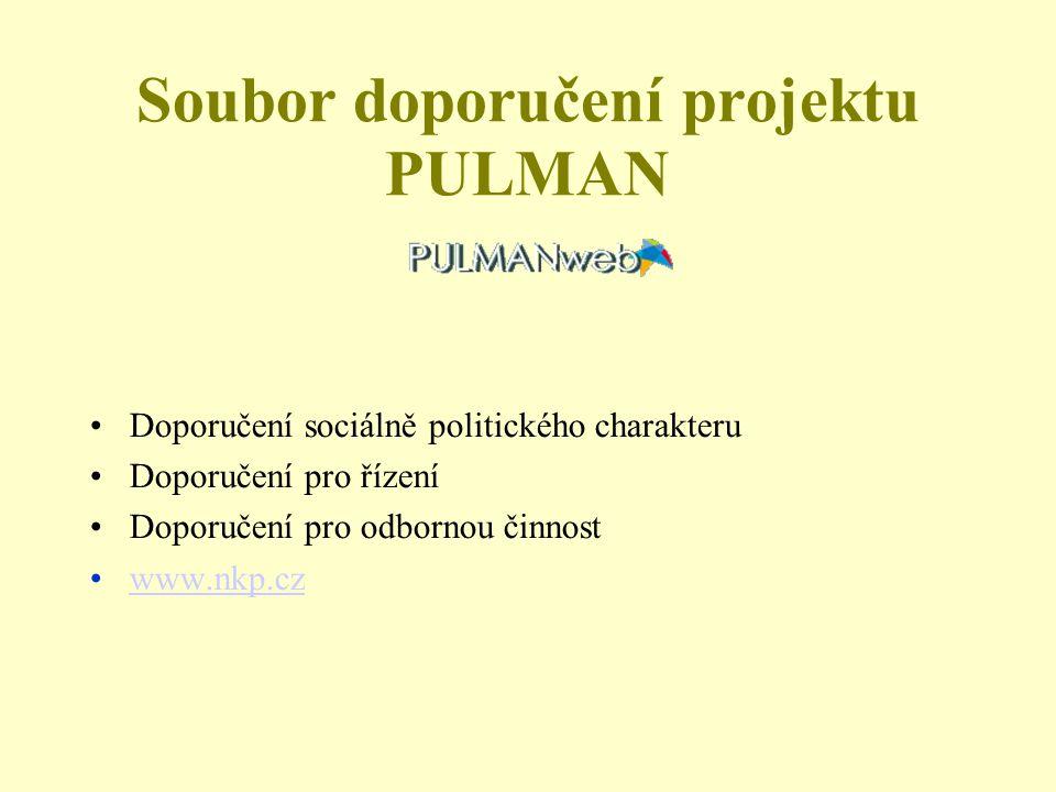 Soubor doporučení projektu PULMAN Doporučení sociálně politického charakteru Doporučení pro řízení Doporučení pro odbornou činnost www.nkp.cz