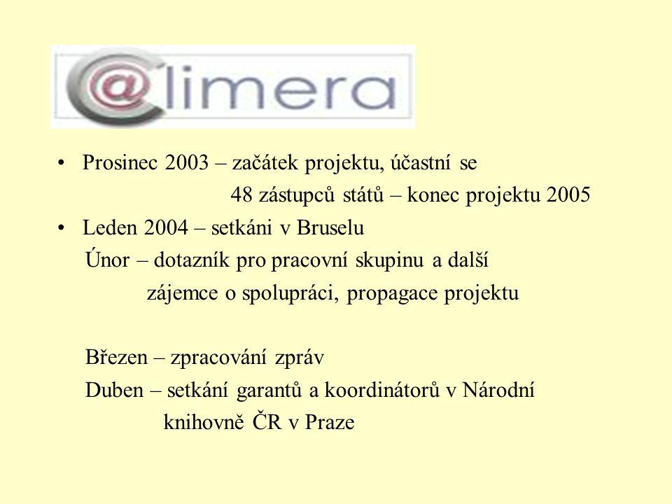 Prosinec 2003 – začátek projektu, účastní se 48 zástupců států – konec projektu 2005 Leden 2004 – setkáni v Bruselu Únor – dotazník pro pracovní skupinu a další zájemce o spolupráci, propagace projektu Březen – zpracování zpráv Duben – setkání garantů a koordinátorů v Národní knihovně ČR v Praze