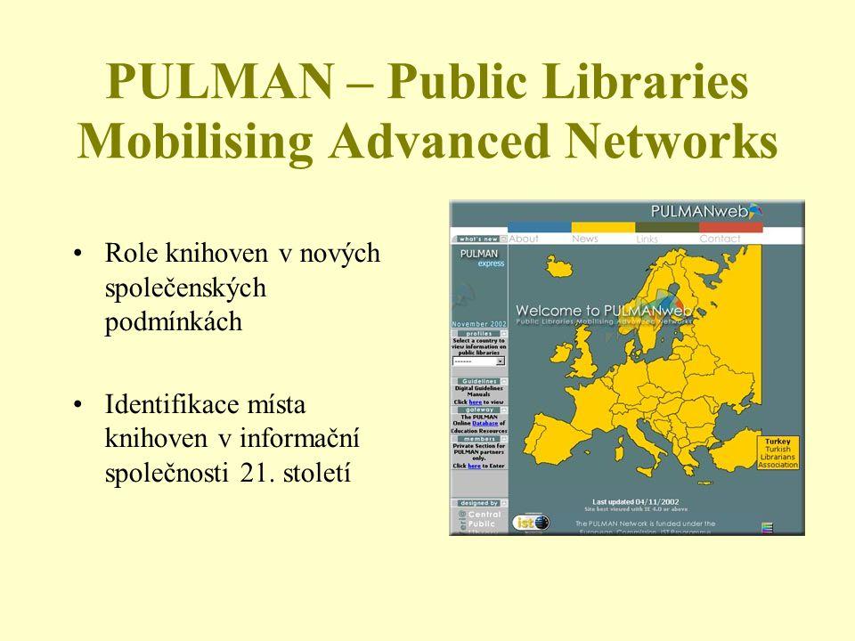 PULMAN – Public Libraries Mobilising Advanced Networks Role knihoven v nových společenských podmínkách Identifikace místa knihoven v informační společnosti 21.