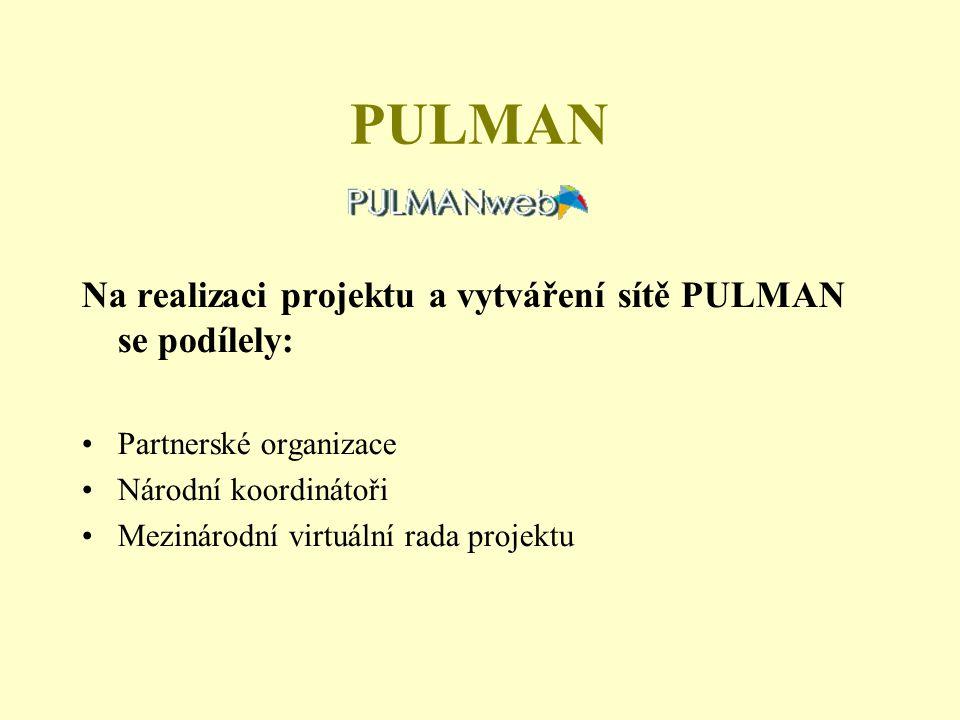 PULMAN Na realizaci projektu a vytváření sítě PULMAN se podílely: Partnerské organizace Národní koordinátoři Mezinárodní virtuální rada projektu