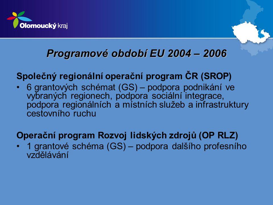 Programové období EU 2004 – 2006 Společný regionální operační program ČR (SROP) 6 grantových schémat (GS) – podpora podnikání ve vybraných regionech, podpora sociální integrace, podpora regionálních a místních služeb a infrastruktury cestovního ruchu Operační program Rozvoj lidských zdrojů (OP RLZ) 1 grantové schéma (GS) – podpora dalšího profesního vzdělávání