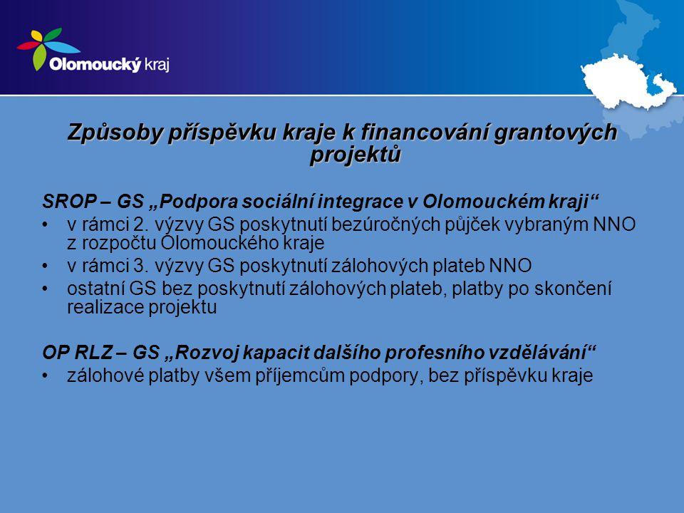 """Způsoby příspěvku kraje k financování grantových projektů SROP – GS """"Podpora sociální integrace v Olomouckém kraji v rámci 2."""