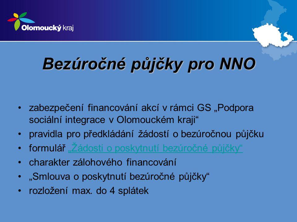 """Bezúročné půjčky pro NNO zabezpečení financování akcí v rámci GS """"Podpora sociální integrace v Olomouckém kraji pravidla pro předkládání žádostí o bezúročnou půjčku formulář """"Žádosti o poskytnutí bezúročné půjčky """"Žádosti o poskytnutí bezúročné půjčky charakter zálohového financování """"Smlouva o poskytnutí bezúročné půjčky rozložení max."""