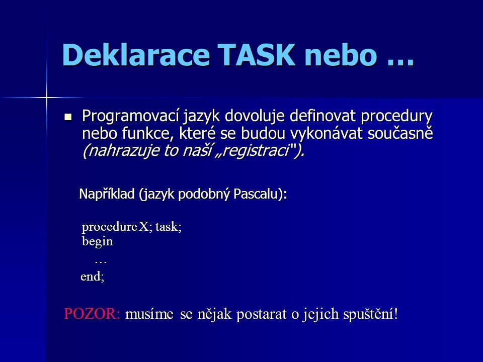 """Deklarace TASK nebo … Programovací jazyk dovoluje definovat procedury nebo funkce, které se budou vykonávat současně (nahrazuje to naší """"registraci"""")."""