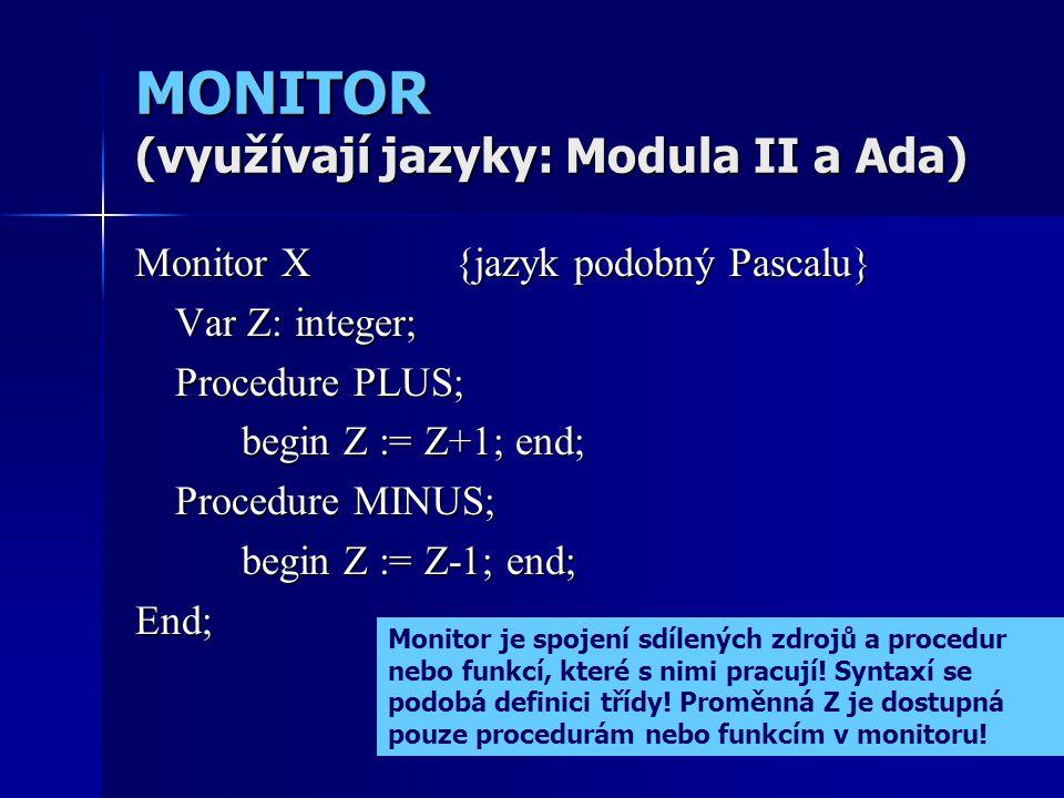 MONITOR (využívají jazyky: Modula II a Ada) Monitor X{jazyk podobný Pascalu} Var Z: integer; Procedure PLUS; begin Z := Z+1; end; Procedure MINUS; begin Z := Z-1; end; End; Monitor je spojení sdílených zdrojů a procedur nebo funkcí, které s nimi pracují.