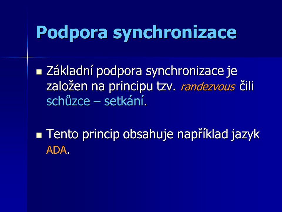 Podpora synchronizace Základní podpora synchronizace je založen na principu tzv. randezvous čili schůzce – setkání. Základní podpora synchronizace je