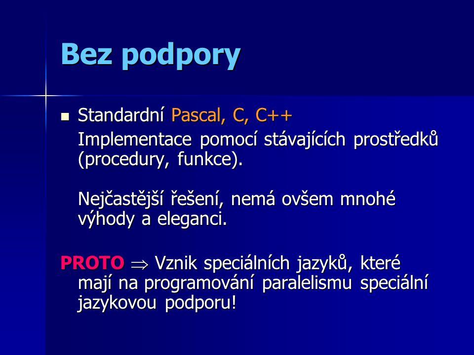 Bez podpory Standardní Pascal, C, C++ Standardní Pascal, C, C++ Implementace pomocí stávajících prostředků (procedury, funkce).