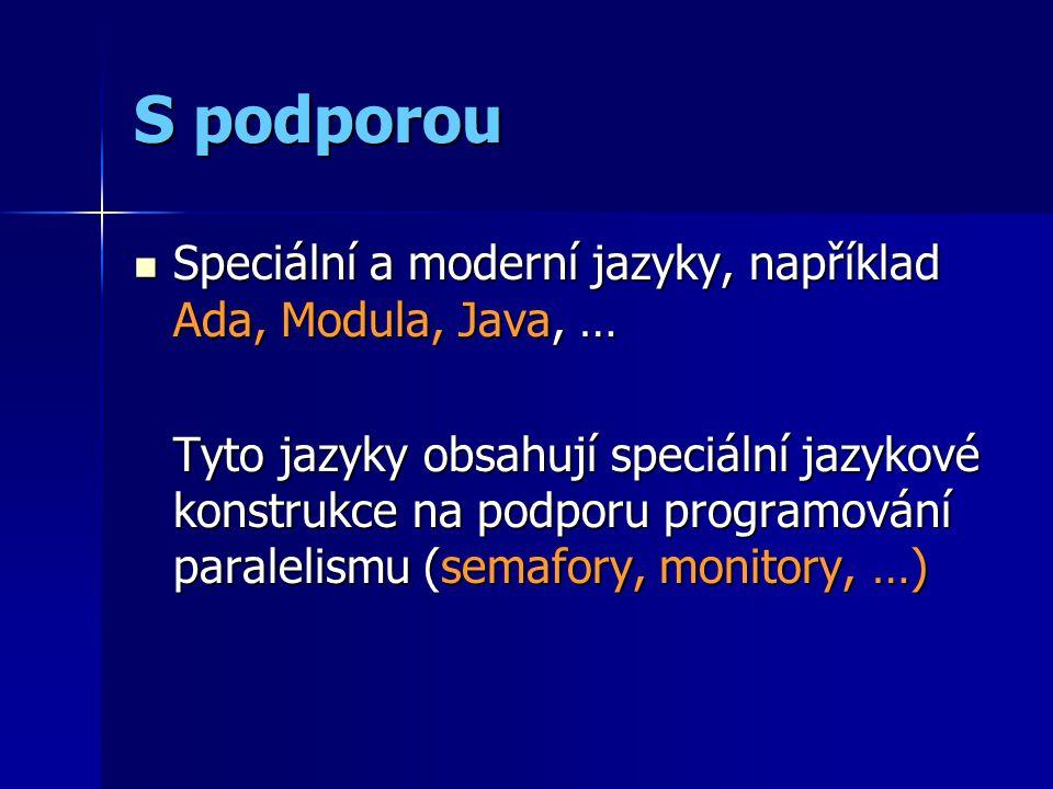 S podporou Speciální a moderní jazyky, například Ada, Modula, Java, … Speciální a moderní jazyky, například Ada, Modula, Java, … Tyto jazyky obsahují speciální jazykové konstrukce na podporu programování paralelismu (semafory, monitory, …)