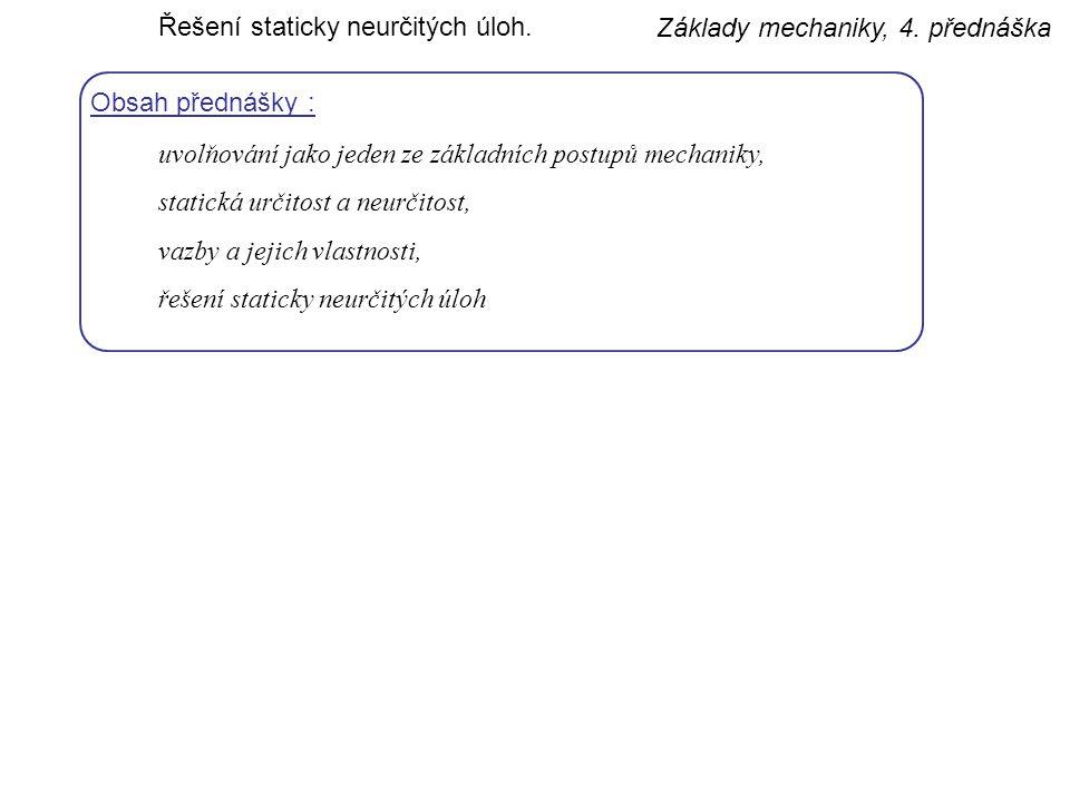 Základy mechaniky, 4.přednáška Řešení staticky neurčitých úloh.