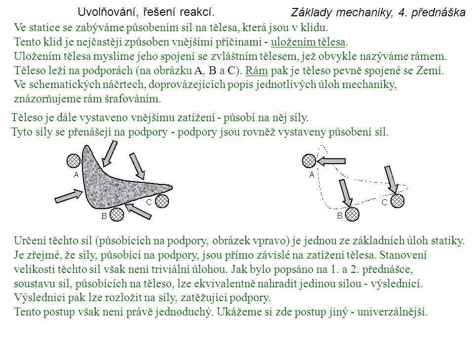 Základy mechaniky, 4.přednáška Ve statice se zabýváme působením sil na tělesa, která jsou v klidu.