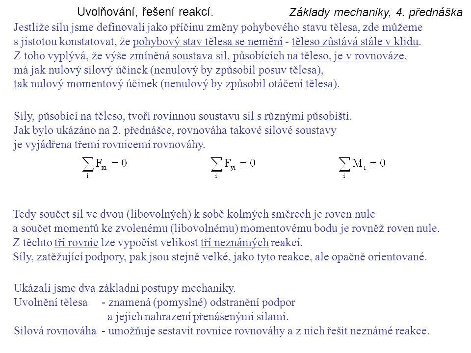 Základy mechaniky, 4.přednáška Rovinné vazby. Dokonalé vetknutí je pevné spojení dvou těles.