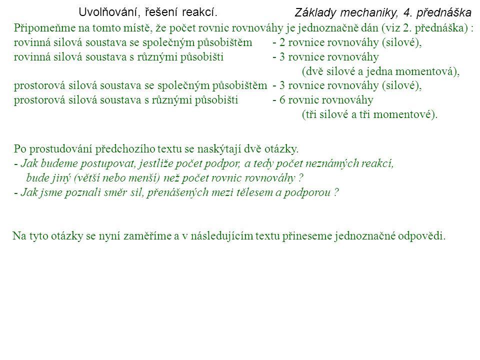 Základy mechaniky, 4.přednáška Statická určitost a neurčitost.