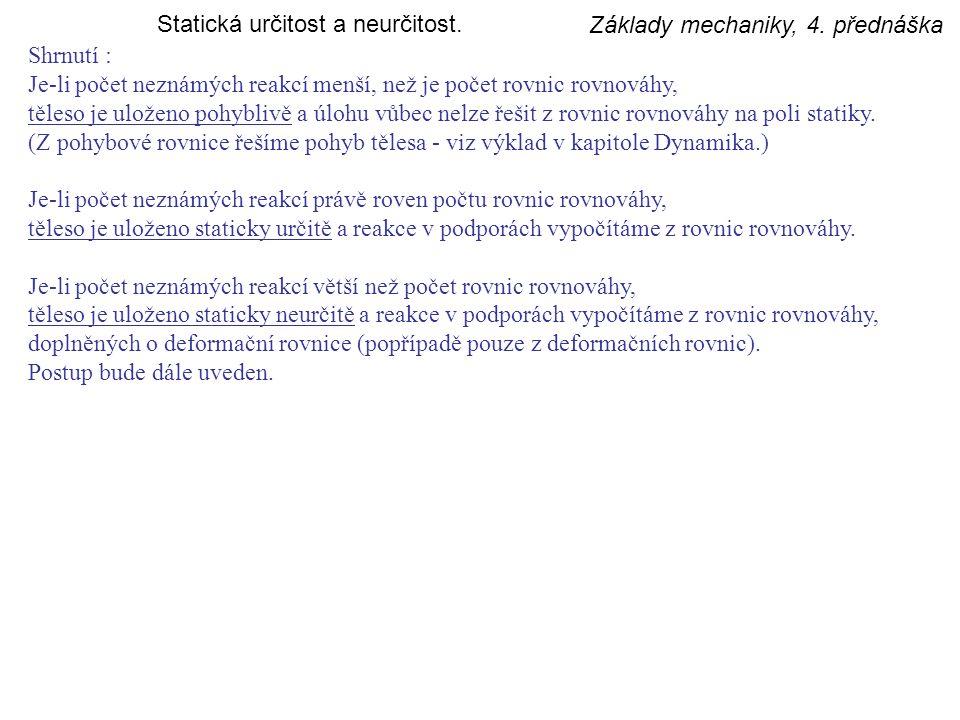 Základy mechaniky, 4.přednáška Řešení reakcí.