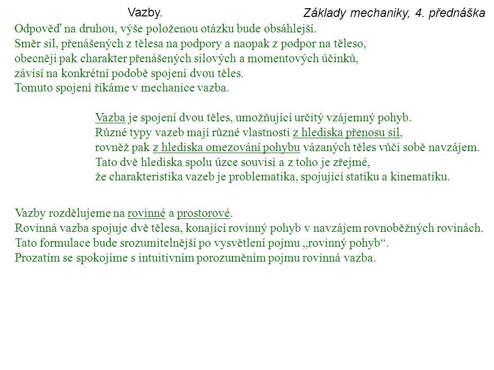 Základy mechaniky, 4.přednáška Vazby. Odpověď na druhou, výše položenou otázku bude obsáhlejší.
