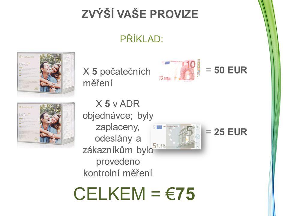 PŘÍKLAD: CELKEM = €75 X 5 počatečních měření = 50 EUR X 5 v ADR objednávce; byly zaplaceny, odeslány a zákazníkům bylo provedeno kontrolní měření = 25