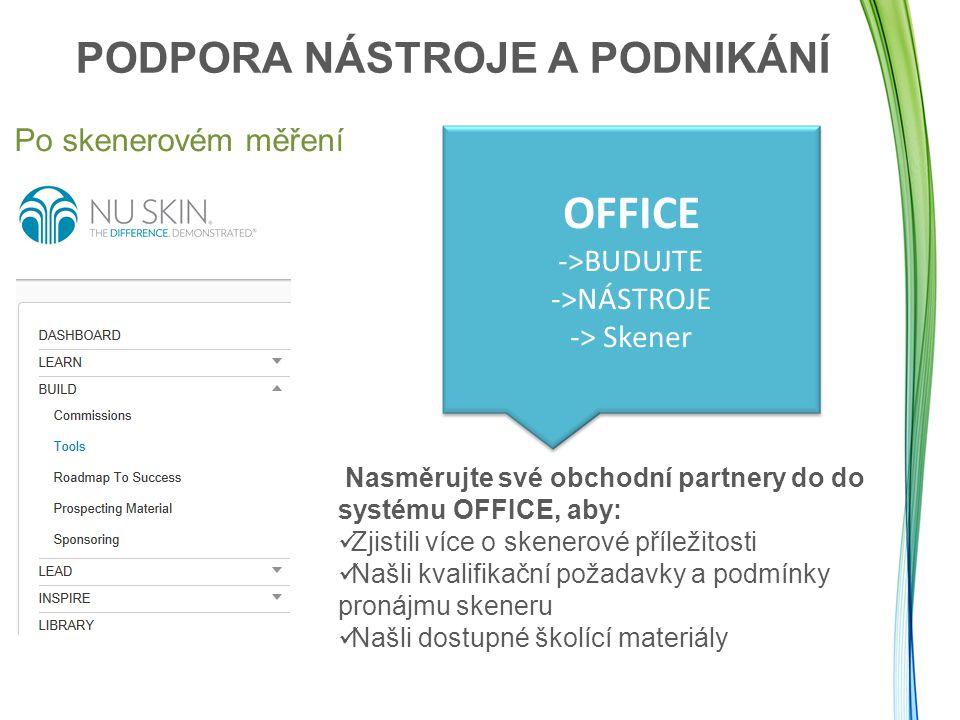 Po skenerovém měření OFFICE ->BUDUJTE ->NÁSTROJE -> Skener Nasměrujte své obchodní partnery do do systému OFFICE, aby: Zjistili více o skenerové příle