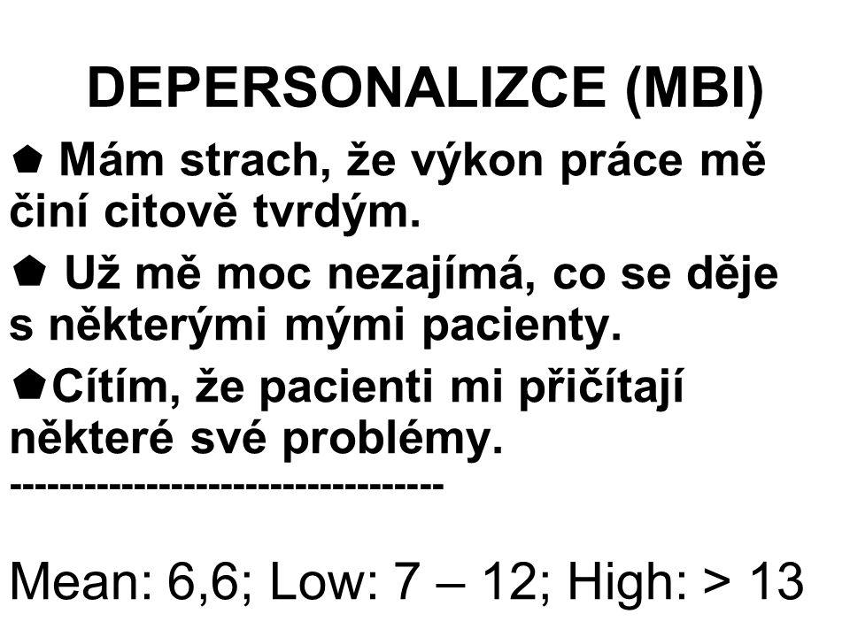 DEPERSONALIZCE (MBI)  Mám strach, že výkon práce mě činí citově tvrdým.  Už mě moc nezajímá, co se děje s některými mými pacienty.  Cítím, že pacie