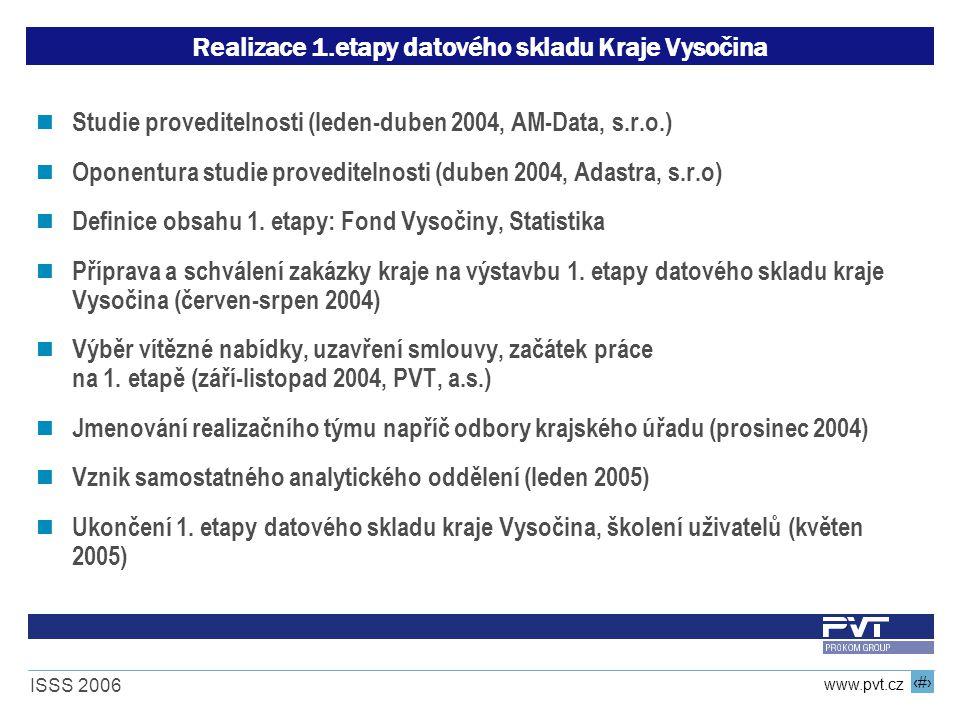 12 www.pvt.cz ISSS 2006 Realizace 1.etapy datového skladu Kraje Vysočina Studie proveditelnosti (leden-duben 2004, AM-Data, s.r.o.) Oponentura studie proveditelnosti (duben 2004, Adastra, s.r.o) Definice obsahu 1.